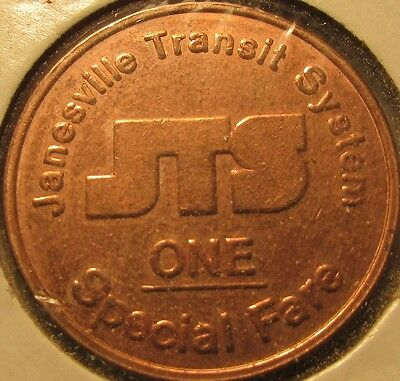 Janesville, WI Transit System Special Fare Bus Token - Wisconsin Wisc.