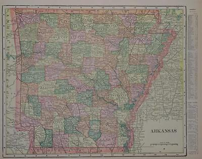 1902 Arkansas Antique Color Atlas Map** 117 years-old!