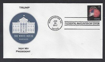 Trump....Not My President: Inauguration Cover - 1/20/17 -Flag & Fireworks Stamp