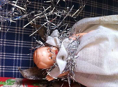 two vintage Christmas tree fairies and baubles - fairy decorations