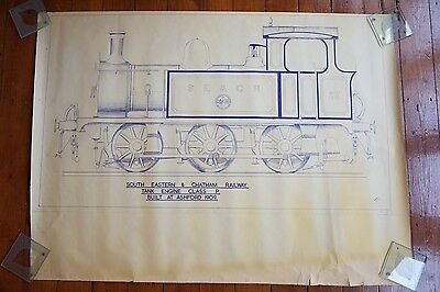1909 South Eastern & Chatham Railway Tank Diagram Drawing 105cm x 78cm