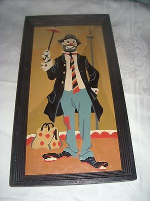 (11) Vintage Paint By Number Jolly Clown Painting 7 By 13 Wood Frame