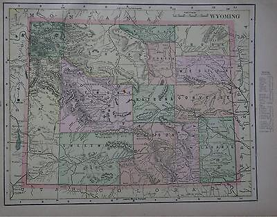 1902 Wyoming Antique Color Atlas Map**  115 years-old!