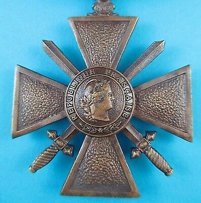 Rare Original 1940 Ww2 French Nazi Vichy Croix De Guerre Gallantry Medal Order