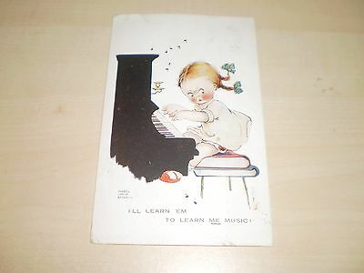 1922 Mabel Lucie Attwell Artwork Postcard Girl Playing Piano By Valentines