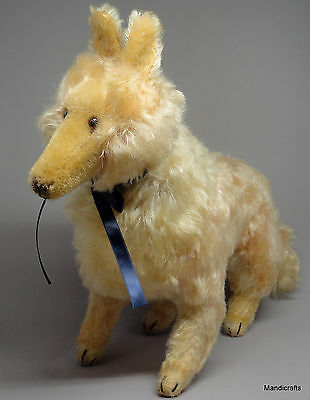 Hermann Collie Dog Apricot Mohair Plush 26cm 10in Glass Eyes 1960s Stitch Claws