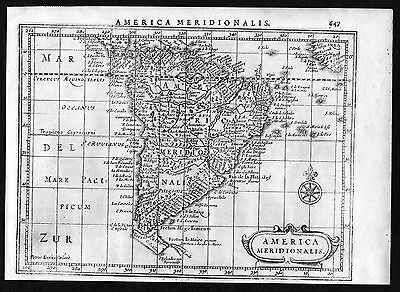 1634 South America Brazil Chile Argentina map Mercator engraving antique print