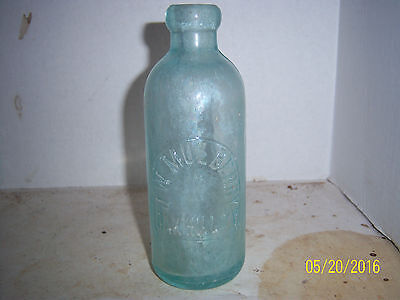 "1880's JW Mulberry Oakhill, NY Aqua 6 1/2"" Hutch Soda Bottle"