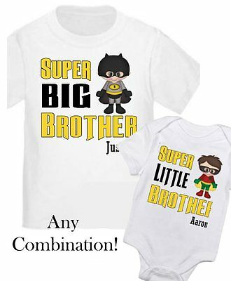 2 Personalized Big Little Brother Super Hero Kids Shirt T-Shirt ANY SIZE / NAME