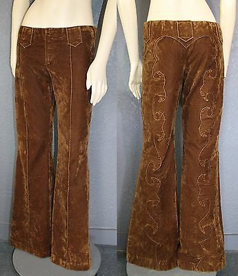 Vtg Brown VELOUR Boho Hippie 70s Rock N Roll BELL BOTTOM Pants WESTERN details S