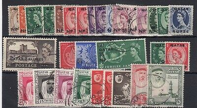 Qatar 1957-61 used oddments to Rs2 and RS5 - 32 stamps