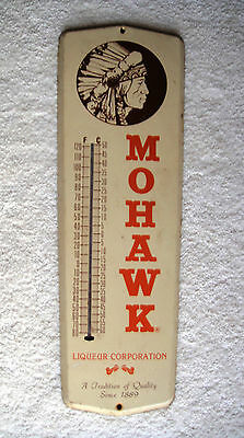 Metal Mohawk Liqueur Corporation Thermometer has Profile of Indian Chief