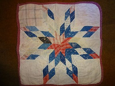 Antique C.1900 2-Sided Doll Quilt 12.5 Inches Square Good Condition
