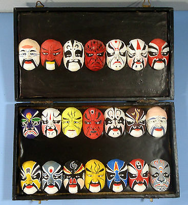 Vintage Beijing Opera Masks Set of 21 Hand Crafted mid to late 1900s Used 2 1a c