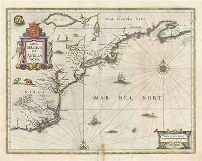 1647 Jansson Map of New York, New England and Virginia
