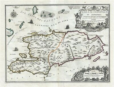 1723 De Fer Map of Hispaniola or Santo Domingo