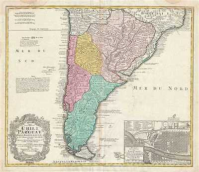 1733 Homann Heirs Map of Southern South America (Paraguay, Chile, Argentina)
