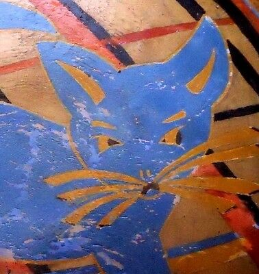 Old BLUE CAT Vintage Painted FOLK ART Wooden Wood BOWL