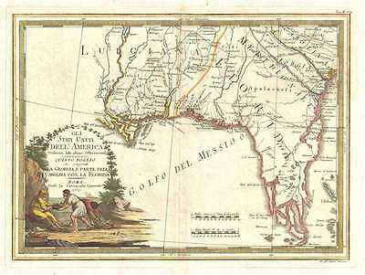 1797 Cassini Map of Florida, Georgia, and Louisiana