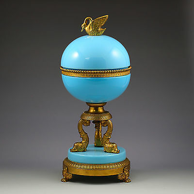 30cmH Large Antique French blue opaline glass Box bronze dore mounts Swan Dophin