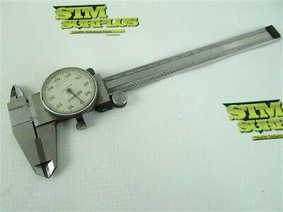 """Mitutoyo 6"""" Precision Carbide Faced Dial Calipers .001"""" Shock Proof Stainless"""