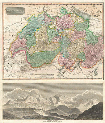 1814 Thomson Map of Switzerland with View of Mont Blanc