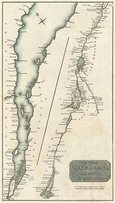 1814 Thomson Map of the St. Lawrence River, CANADA