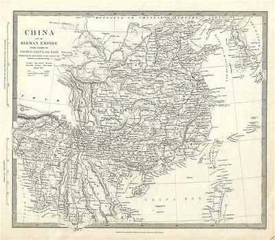 1834 S.D.U.K. Subscriber's Edition Map of China and Burma or Myanmar
