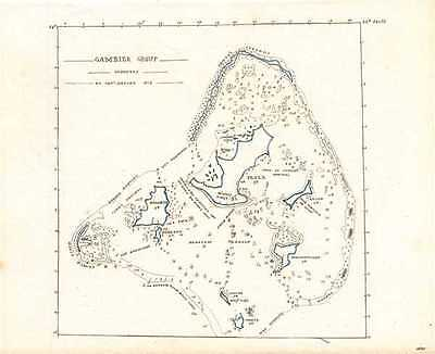 1835 Manuscript Map of the Gambier or Mangareva Islands in French Polynesia