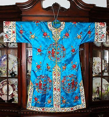 Fine Chinese EmbroideredVibrant Blue or Turquoise Silk Robe Embroidered Textile
