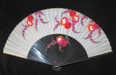 Vintage Hand Fan Hand Painted Floral