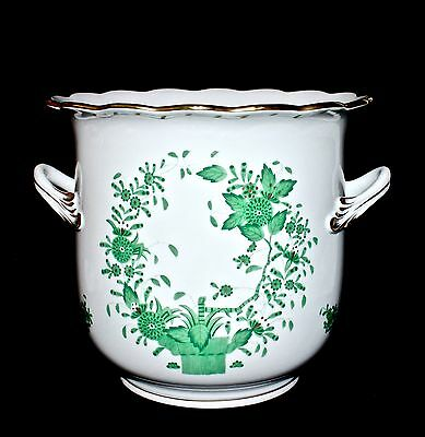 HEREND Hungary Green Indian Basket Hand Painted Large Cachepot Jardiniere