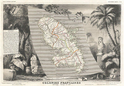 1852 Levasseur Map of Martinique, in the West Indies