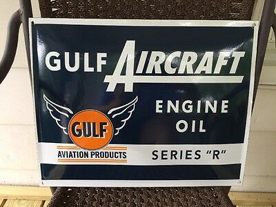 "GULF~AVIATION ENGINE OIL AIRCRAFT SERIES ""R""~Porcelain Enamel Sign~Advertising"