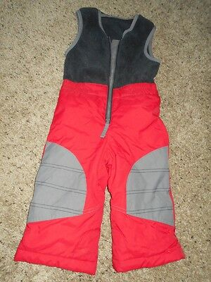 Columbia Boy's Red//Gray Snow Pants with Fleece upper Size 24 months