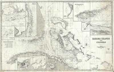 1872 Imray Map or Blueback Nautical Chart of the Bahamas and Florida