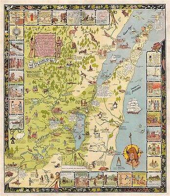 1931 Behncke Pictorial Map of the Fox River Valley and Green Bay, Wisconsin