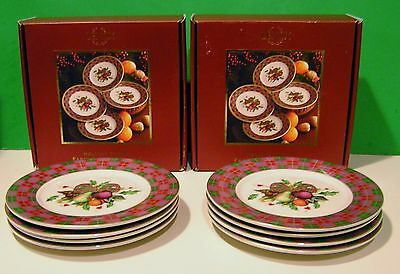 LENOX 8 HOLIDAY TARTAN PARTY PLATES 2 sets of 4 NEW in 2 BOXES  6 inch diameter
