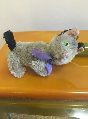 """1950's SCHUCO 7CM 3"""" TABBY CAT 5 WAY JOINTED GREEN EYES BLACK EARS AND TAIL"""