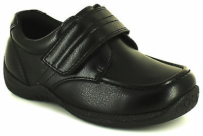 New Younger Boys/Childrens Black Touch Fastening School Shoes. UK SIZES
