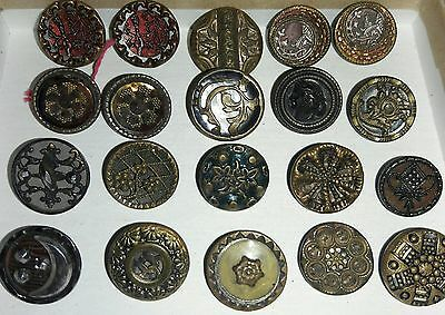 "Antique Metal Picture/Steel 20 Buttons/ 1/2 "" size"
