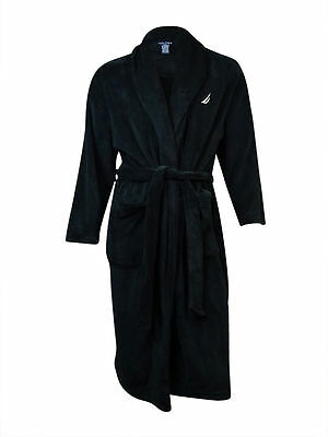 Nautica NEW Solid Black Mens Size Small Medium M Robes Sleepwear $75- #246