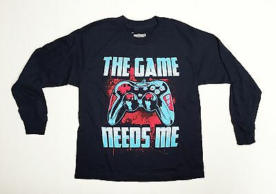 The Game Needs Me - Youth Medium 10/12 Navy Blue Long Sleeve T-Shirt  Funny