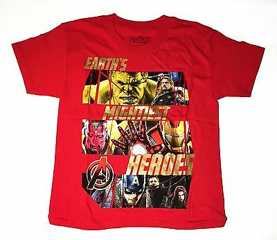Avengers Earth's Mightiest Heroes - Youth Small 8 T-Shirt Red Graphic Tee