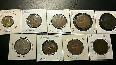 Lot Of 9 Great Britain Coins...pence,penny,half Penny,two Shilling