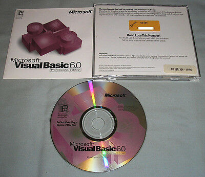 Microsoft Visual Basic 6.0 Professional Edition - PC Computer Software CD w/Key!