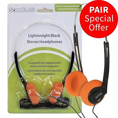 Soundlab Lightweight Stereo Orange Pad Headphones for Schools Tour Companies