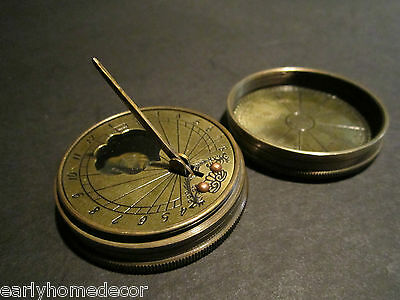 Antique Style Solid Brass Timekeeping Sundial with Top Pocket Compass Watch