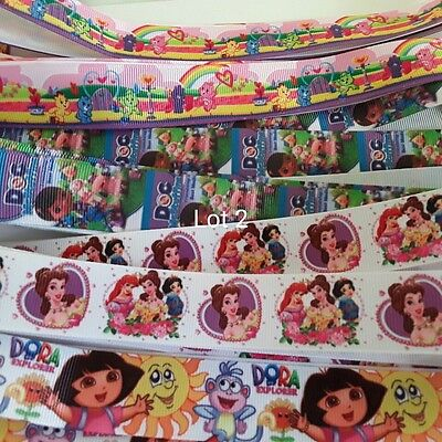 REDUCED~10 MTS CARTOON CHARACTERS GROSGRAIN RIBBON ~4 DESIGNS~LOT 2~IN OZ. 25mm