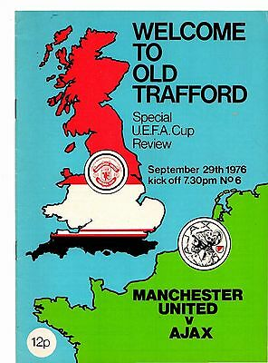 1976-1977 Manchester United v Ajax UEFA Cup  POST FREE